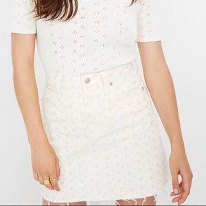 Embroidered Eyelet Denim Skirt
